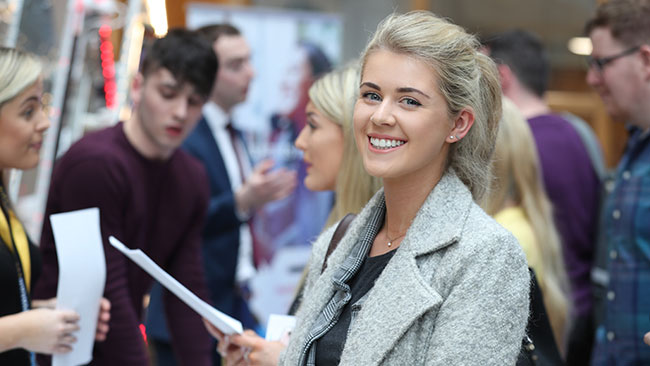 Female student at careers fair