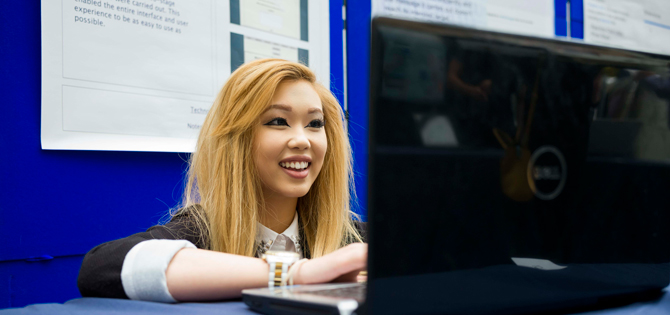 NCI Student at the college's Computing Project Showcase
