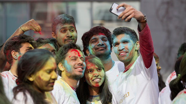 NCI international students celebrate Holi