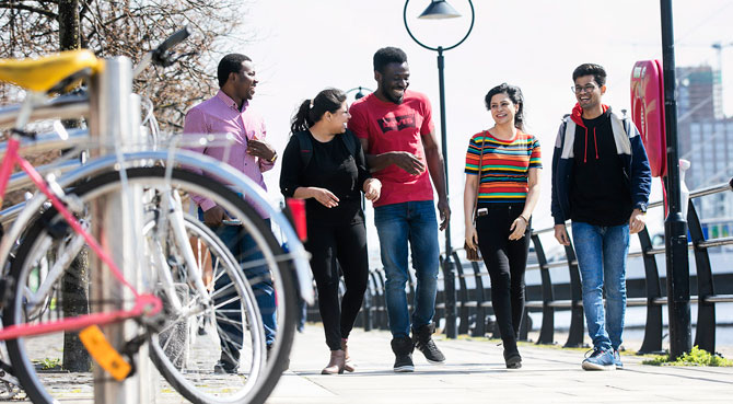 NCI international students on the quays near campus